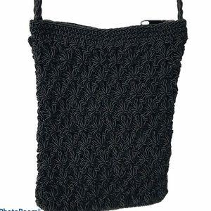 Chateau Black Crochet Crossbody Bag Purse Small